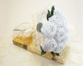 Origami Lace Fabric Rose Bouquet in White (1 Dozen Gift Wrapped), Anniversay Gift, Valentines day gift, Party favors