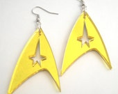 Star Trek Inspired Gold Geek Lasercut Earrings Sci Fi Jewelry, Comicon Next Generation Accessory, Costume Captain Kirk Into Darkness