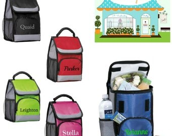 Lunch Bag Personalized Insulated Lunch Tote with Side Mesh Pocket Pink Green Blue Red Black Back To School Black Friday Cyber Monday Sale