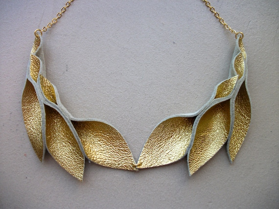 Petal Collection-  Double Gold Leather Petals Necklace