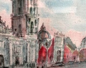 Original watercolor painting, Jose Hanhausen, Mexico City cathedral, professionally framed -- gorgeous