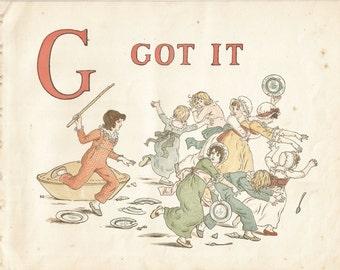 G - Vintage Children's Book Plate, Art Print - G Got It - Alphabet Book Plate, Print - A Apple Pie - Kate Greenaway - 1886