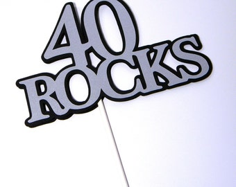 40th Birthday Topper - 40 ROCKS - Sucker Bouquet, Black and Silver