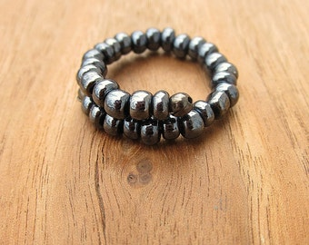 Chunky Beaded Adjustable Size 8 Dark Silver Gunmetal Color Unisex Memory Wire Ring: Big Gun