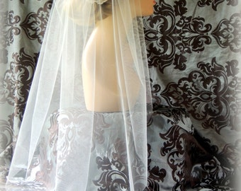 Bridal Veil 35'Single Layer, Traditional Veil, Illusion veil Wedding Ivory veil