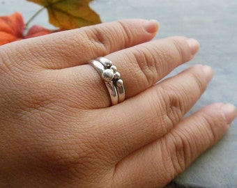 Artisan Band ring, sterling silver Band ring, stack rings, ball band ring, wedding, promise, gift - Birthday gift