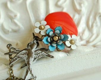 heart tattoo necklace, red glass heart pendant, blue flower necklace, vintage enamel flowers, romantic valentine necklace, delicate tattoo