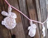 Easter Bunny Garland - Crochet Bunny Garland with White Bunnies - Spring Easter Garland - Spring Banner Easter Bunny Decor