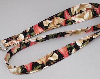 ID Badge Lanyard in magnolia floral pattern