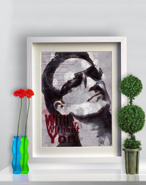 Print U2 poster BONO illustration PORTRAIT Birthday Gift art Canvas Musicians Music Singer print Wall Decor giclee