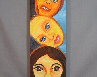 original acrylic painting on canvas, Day and Night Totem, faces