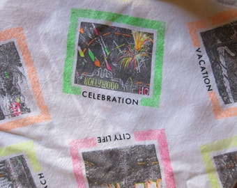 1980s Neon Fabric, Over One Yard of Vintage 1980s White Cotton Fabric with Neon Highlighted Postcard Images by Winky Textiles Inc