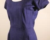 40s/50s Cotton Linen Navy Blue Wiggle Dress / Summer / Interesting Neckline / Vintage