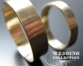 Wedding Bands Recycled Hand Forged 14k Gold Ring Band Set Satin Finish Eco Friendly Metal