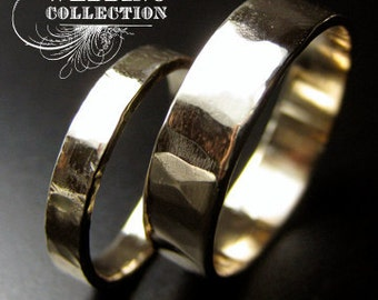 Recycled Hand Forged 14kt Yellow Gold Ring Band Set Hammered Finish