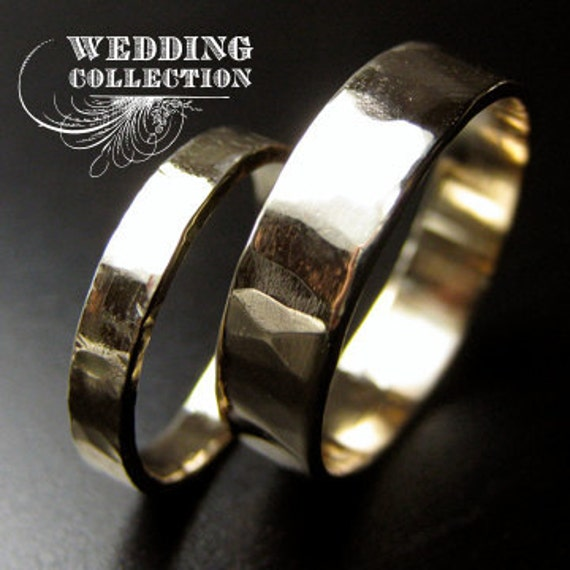 Custom Listing for Erin Recycled Hand Forged 14kt Yellow Gold Ring Band Set Hammered Finish
