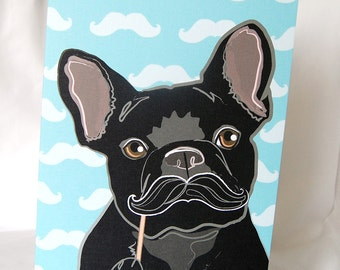 Mustache French Bulldog Greeting Card