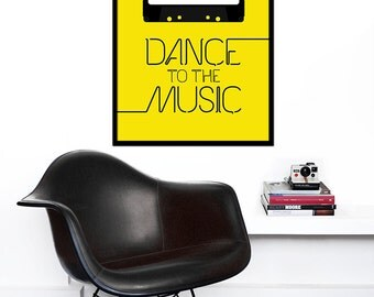 Retro poster music print typography kitchen art office 70s 80s cassette tape - Dance to the Music Yellow 50 x 70cm