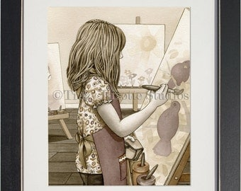 The Painter - archival watercolor print by Tracy Lizotte