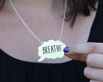 Write On/Wipe Off Thought Bubble Necklace - Tattle Tales in Sterling Silver - by Punky Jane