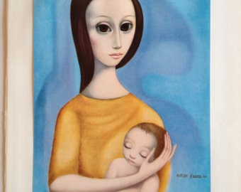 Margaret Keane HALF OFF Big Eye Girl Lithograph Print Mother and Child II 1963