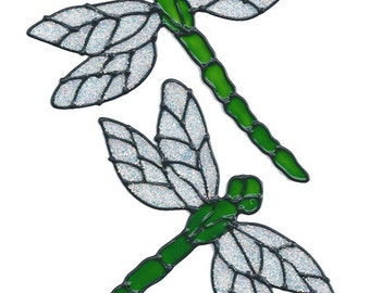 Dragonfly Window Cling Set - Lime Glitter