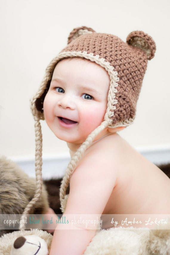 Bear Hat in Brown - Ready to Ship - Six Sizes Available - Newborn to Adult - Free Shipping