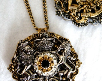 Mixed Metal Coat of Arms Pendant on 36 Inch Chain