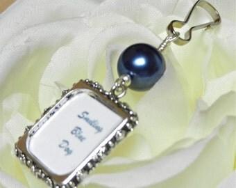 Wedding bouquet photo charm. Something blue. Personalized photo charm. Bridal bouquet charm. Gift for the bride. Wedding keepsake. Navy blue