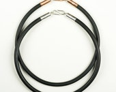 Black Neoprene Rubber Necklace Cord choker length with brass, copper  or sterling silver mounts