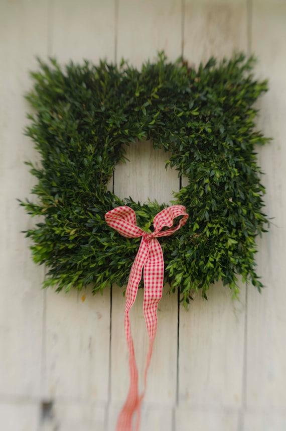 "Fresh Square 20"" Boxwood Wreath, square wreath,  fall wreath, boxwood wreath, holiday wreath, wedding wreath,  fresh boxwood wreath"