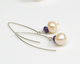 White Pearls and Amethyst Silver Drop Earrings, Purple and White Long Earrings, Sterling Ear Wires with Pearl Dangles