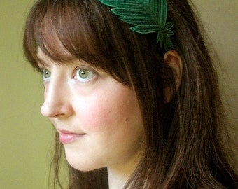 Feather Headband- Emerald Green with Mint Leaf Green, Emerald, and Dark Sage Embroidery