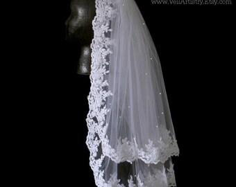 Short Wedding Veil, Classic Veil, Waist Veil, 2-Tier Veil, Re-embroidered Lace Veil, Swarovski Crystal Veil, Made-to-Order Veil, Custom Veil