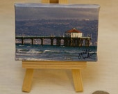 """Mini Pocket Art Collection - """"Manhattan Beach Pier"""" Image (Palos Verdes in background) - Canvas Gallery Wrap Landscape Photograph with Easel"""