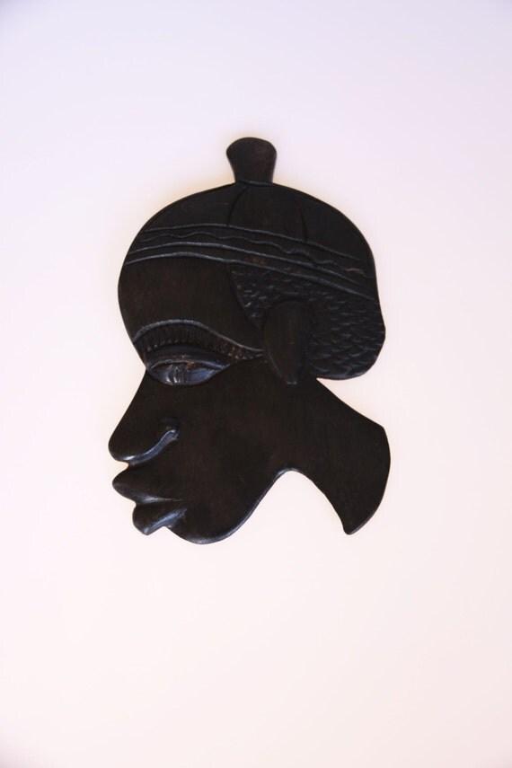 Great vintage dark wood African tribal face mask
