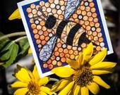 Blank Greeting Card - Bumble Bee mosaic