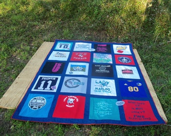 Custom  Tshirt Memory Quilt made with your own 20 T shirts