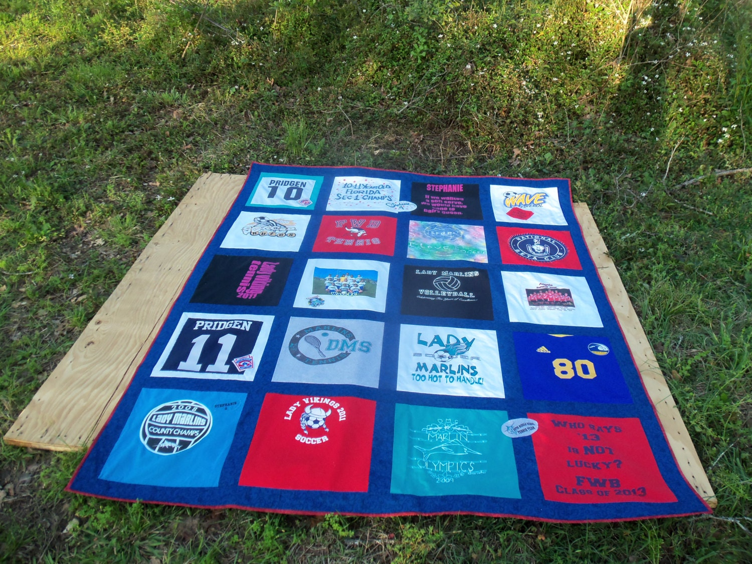 Custom Twin Size Tshirt Memory Quilt Made With Your Own T