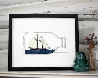 Ship in a bottle print