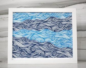 Waves pattern print