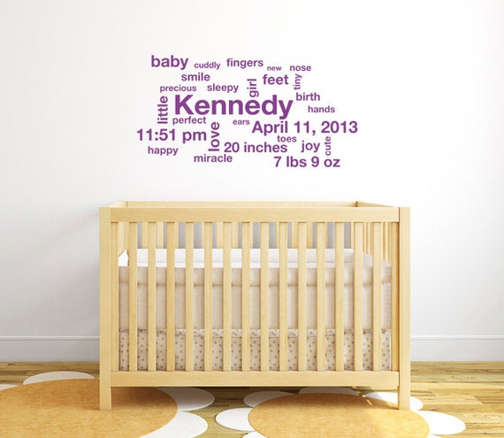 Subway Art Baby Wall Decals Personalized Baby Gifts Girl