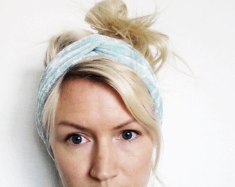 Velvet Turban Headband, Mint Crushed Velvet, Twist Turban