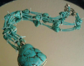 Turquoise Beaded necklace with Turquoise Pendant