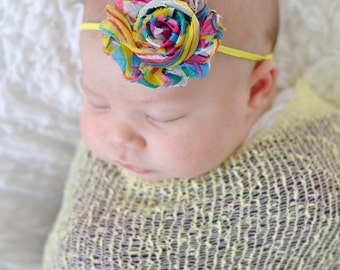 Yellow Pink Blue Green White Black Spring Rainbow Shabby Flower Baby Girl Skinny Headband Photo Prop