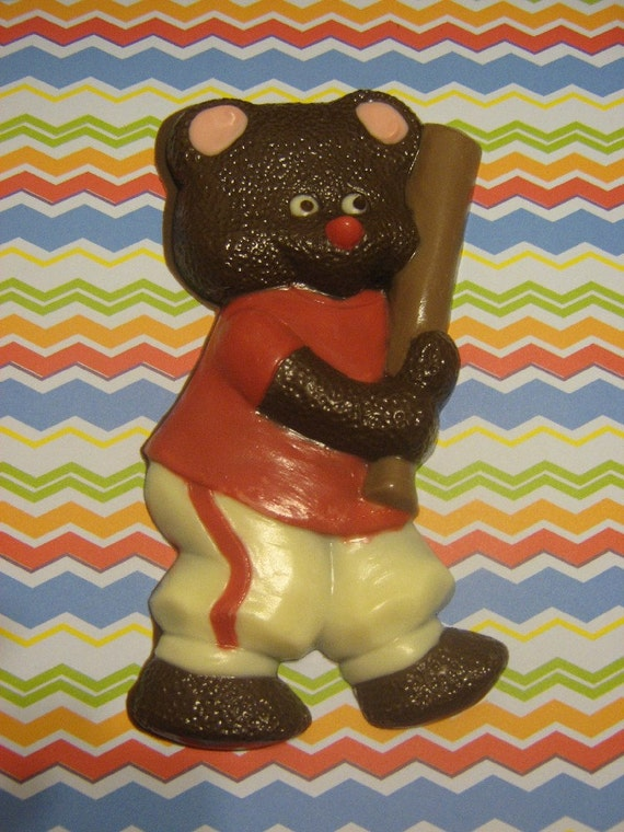 Solid chocolate teddy bear baseball player candy or cake topper