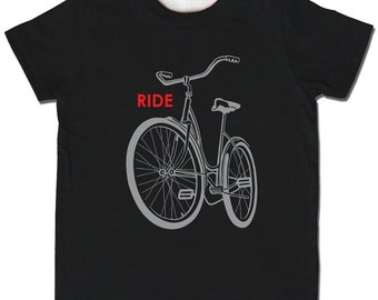 Reflective Black Ride a Bike Shirt, rad short sleeve screenprint t-shirt, safe light reflector tee for baby and child