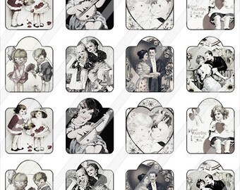 "Printable Vintage Valentine Tags  Digital Collage Sheet (1.5"" by 1.75"") - 0094"
