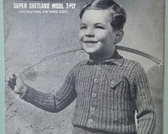 Vintage 1940s Knitting Pattern Boys Lumberjacket Cardigan Jacket - 40s original pattern Second World War WWII WW2 - Sirdar No. 1011 UK