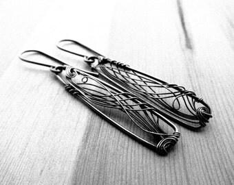 Silver Triangles Earrings. Oxidized Silver Earrings. Dangle Earrings. Silver Long Earrings. Geometric Earrings. SIlver Jewelry. Lightweight.